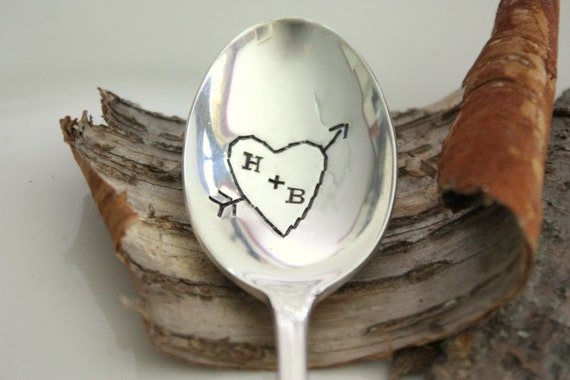 Carved Hearts - Hand Stamped Spoon - Vintage Gift - 2012 Original forsuchatimedesigns - Valentine