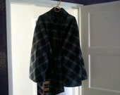 grey tartan cape coat size 14/16