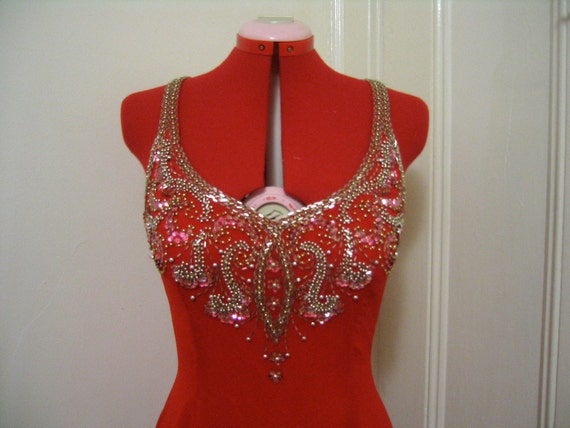 Vanessa - Vintage 1980's Backless Sexy Red Beaded Prom Homecoming Pageant Gown