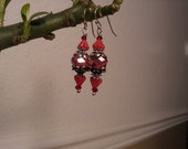 Red Crystal and Glass Flower  Earrings