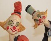 Vintage Porcelain Clown Collectible Set of Two Free Shipping