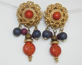 Vintage Clip On Earrings Orange Purple Gold Costume Jewelry Free Shipping