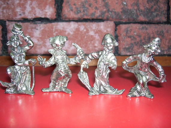 Vintage Pewter Clown Figurines Set of Four Free Shipping