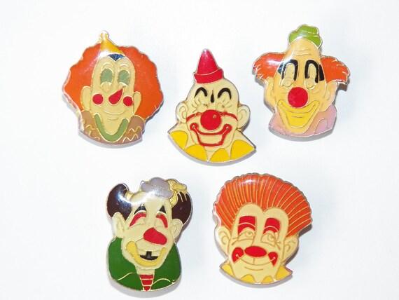 Five Vintage Clown Lapel Pins Free Shipping