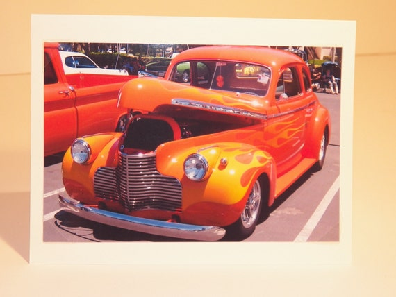 Photo Note Card Free Shipping Classic Vintage Orange Chevy Hot Rod Car Blank Inside 4 X 6 Handmade in Montana USA