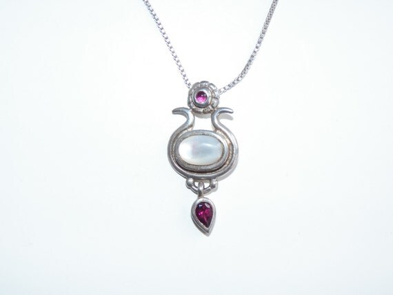 """Vintage Sterling Silver 925 Gemstone Pendant Necklace Free Shipping 18 1/4"""""""