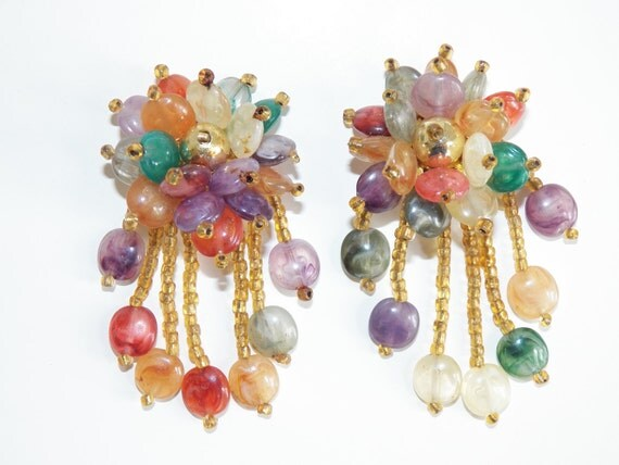 Vintage Clip On Earrings Multi Color Beaded Costume Jewelry Free Shipping