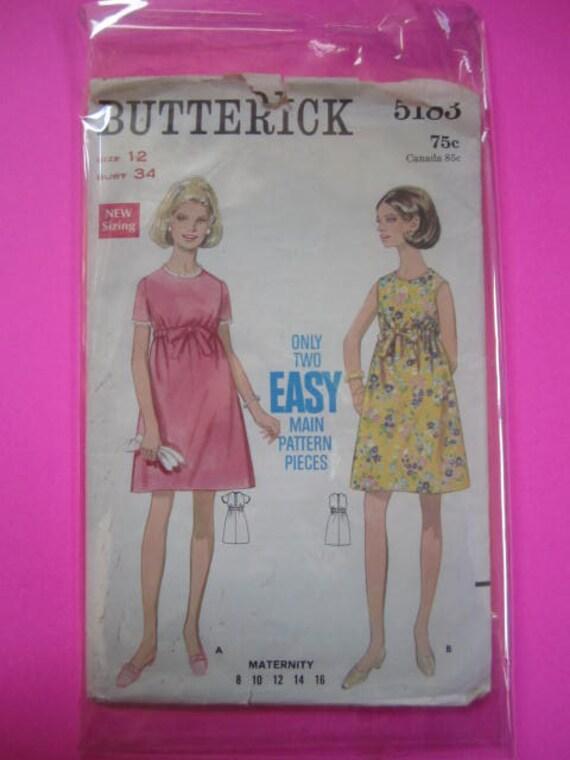 Vintage 1960's BUTTERICK Pattern 5183-- Maternity One-Piece Mini Dress-- Size 12