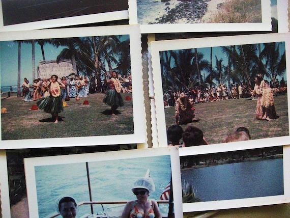 Hula Girls... Collection of 15 Vintage Hawaii Color 1960's Polaroid Photos