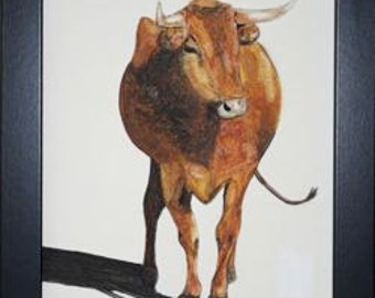 Framed Original Painting of a  Cow