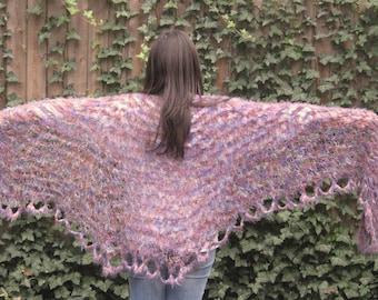 Asymetrical Fuzzy Purple Shawl