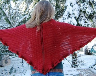 Red Ruffle Shawl