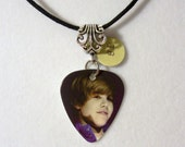 JUSTIN BIEBER Necklace - Guitar Pick necklace with Silver Scroll Charm