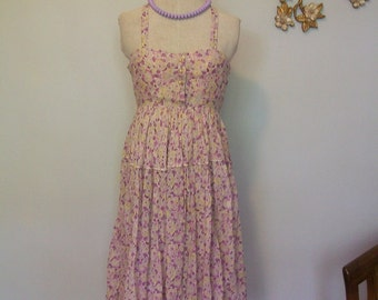 1940's Floral Violet Gauze Day Dress (( Size Small to Small Medium))