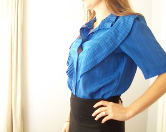 SALE New Wave Pleated Cobalt  Blue Blouse (( Size Medium))