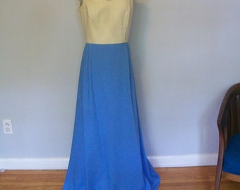 1960s Color Block Maxi Dress  Fluted Skirt(( Size Medium to Large))