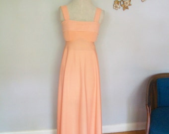 SALE Vintage Peach Maxi Party Dress with sheer studded Capelet ((Size Small))