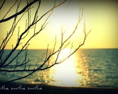 blue water with yellow sun lake huron michigan beach picture sun through trees fine art nature photography