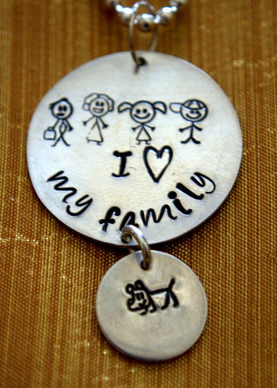 I Love My Family handstamped necklace/pendant with family stick figures