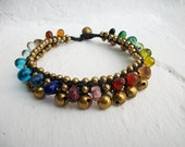 Colorful Glass Stone  Bead Brass Anklet