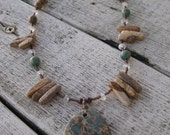 Funky Beach Necklace with Jasper and Aquamarine