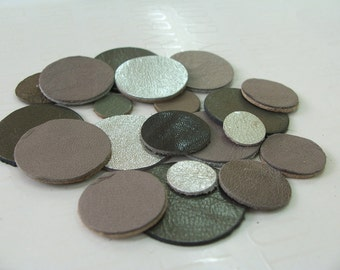 21pcs Grey, Metallic Grey And Silver Leather Circles