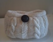 cabled knitted clutch/ make up bag