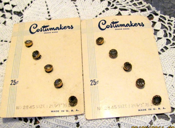 Chic Glass Buttons Still on Card Unused-Vintage Free Shipping