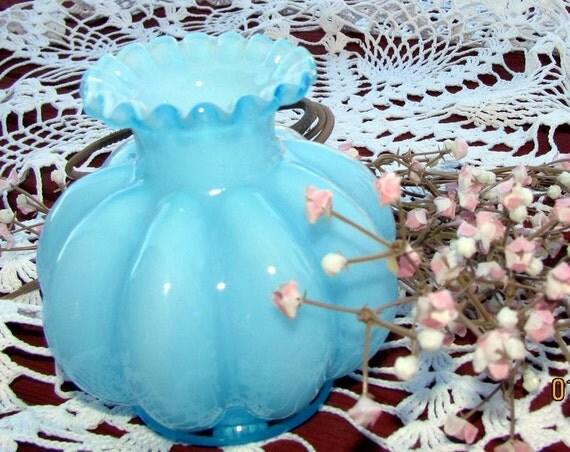 Fenton Blue Cologne Bottle. Blue Overlay Candle Holder or Flower Vase