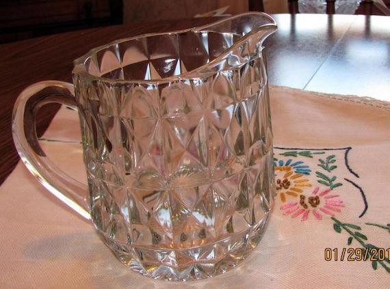 Glass Milk Pitcher or Creamer Windsor Pattern-Depression Era