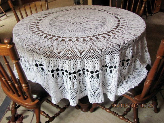 """Large Crochet Pineapple Round Tablecloth  80""""  FREE SHIPPING"""