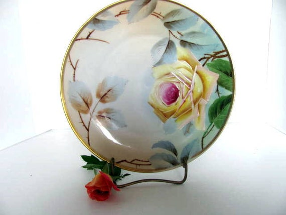 Reserved for Berit Decorator Plate with Handpainted Yellow Rose, Signed by Artist, Imperial Austria