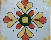 Handpainted Neo-Mexican Custom Ceramic Tile -- Earth Colors -- MADE TO ORDER