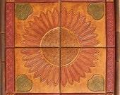 Arts & Crafts Sunflower Tile Set with Borders -- Set 1 -- Handpainted -- MADE TO ORDER -- Focal Panel, Kitchen Backsplash