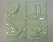 Ceramic Relief Tiles -- Birds on a Vine -- Set of 4 -- Celadon Crackle Glaze -- Vintage Look, IN STOCK