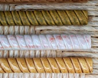 """Ceramic Tile -- Handmade -- 3/4""""x6"""" Rope Listello Border  Tile -- MADE TO ORDER"""