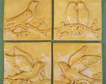 Ceramic Tiles -- Birds on a Vine Relief  Architectural  Tiles -- Set of Four in Amber Glaze, IN STOCK