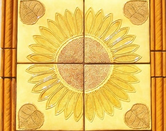 Arts & Crafts Sunflower Tile Set with Borders -- Set #2 -- Handpainted -- MADE TO ORDER