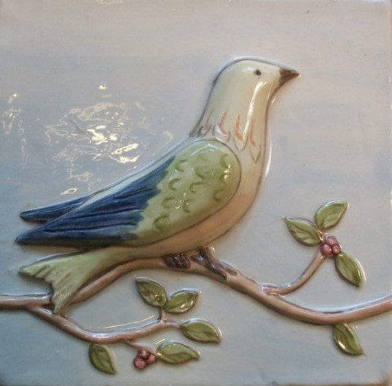 Ceramic Relief Tile Handpainted Bird On Vine Perched In