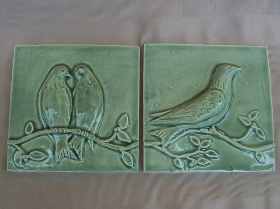 Ceramic Tiles -- Birds on a Vine Relief  Architectural  Tiles -- Set of 4 in Green Tea Crackle Glaze, IN STOCK
