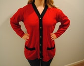 Vintage 80s 90s Red Sweater Cardigan Womens Small