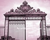 Paris in Pink -Fashion Photography- Gates of Versailles- Palace- Marie Antoinette- 8 x 10- Fine Art Photograph- Preppy French Decor- Boudoir