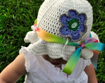 Crochet Pattern PDF - Sunhat - Beloved Flower Sunhat - Infant to Adult Sizes
