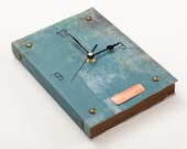 Book Wall Clock Blue Yonder - teal and copper