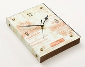 Book Wall Clock -Vintage texted- copper and beauty nails