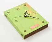 Green Apple recycled book Wall Clock