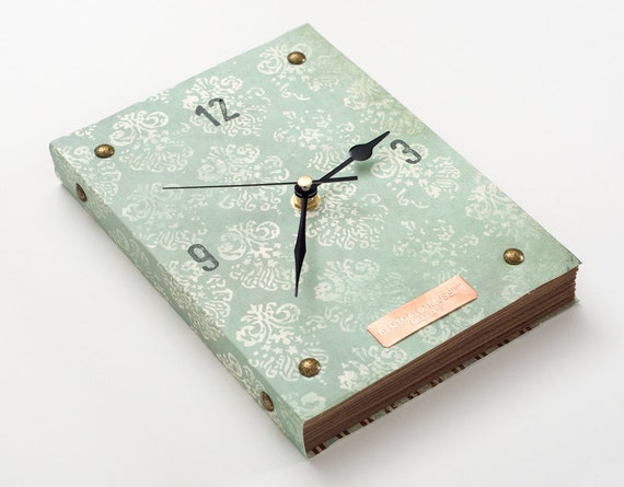 Book Wall Clock -Retro Blue- copper and vintage inspired