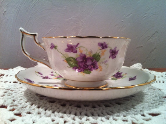 "Royal Chelsea ""Spring Violets""  English Bone China Teacup"