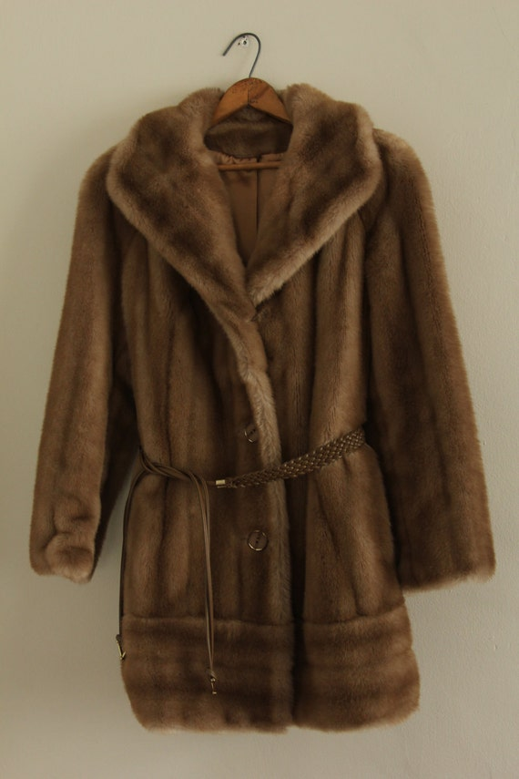 Reserved for Lucy  Brown Faux Fur Coat With Braided Belt by Tissavel