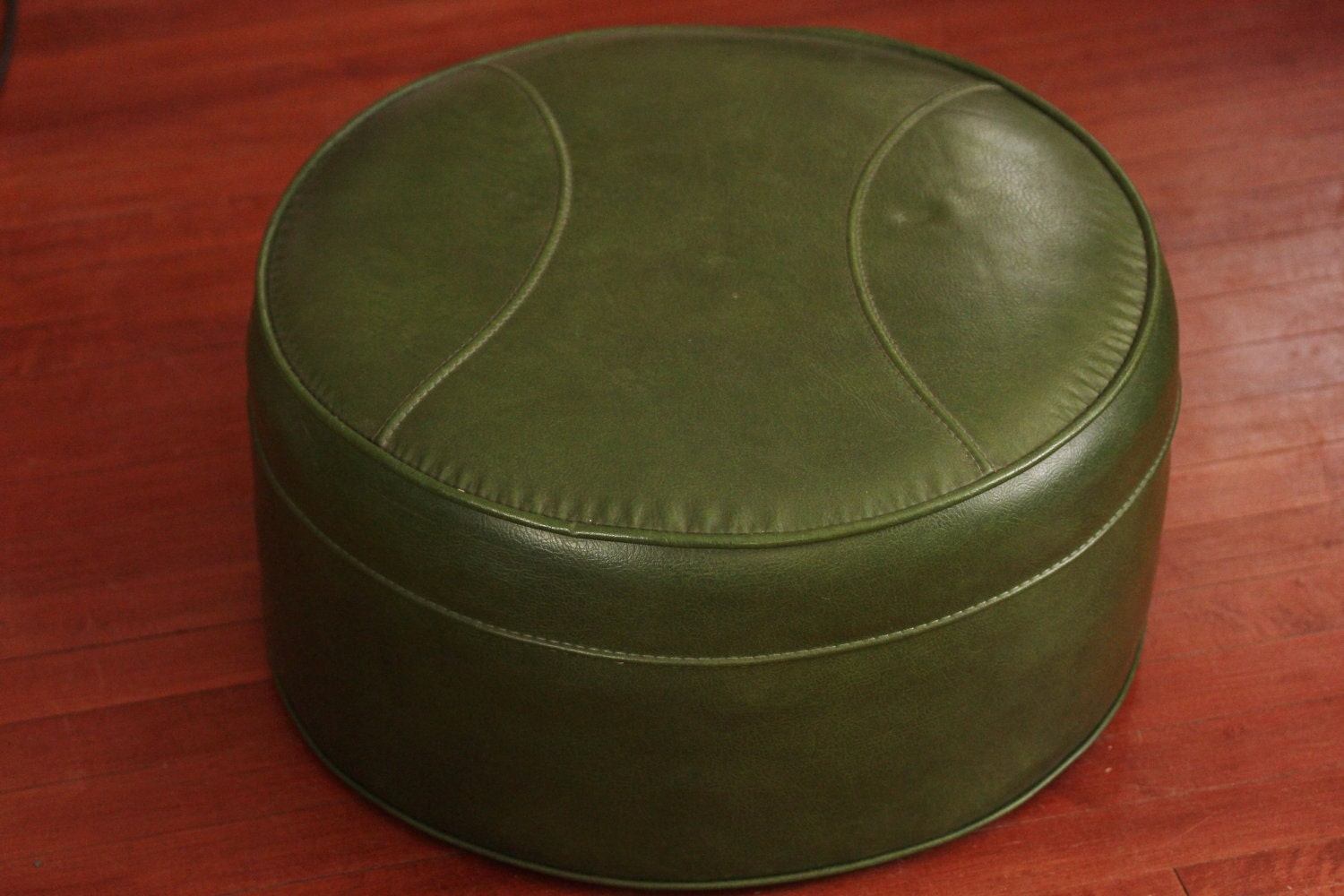 Vintage Round Ottoman Or Hassock In 70 S Green